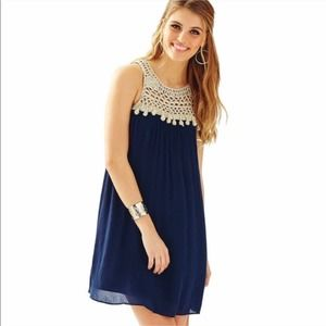 Lilly Pulitzer Rachelle Dress in Navy & Gold